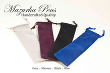 Draw string pouch holds handmade pen.  Available in Dark Gray, Maroon, Black, and Dark Blue.
