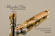 Spalted Hackberry Wood Rollerball Pen with Gold and Chrome Finish