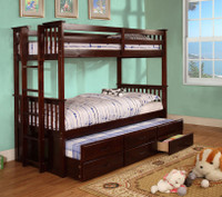 Twin / Twin Bunk Bed With Trundle & Drawers