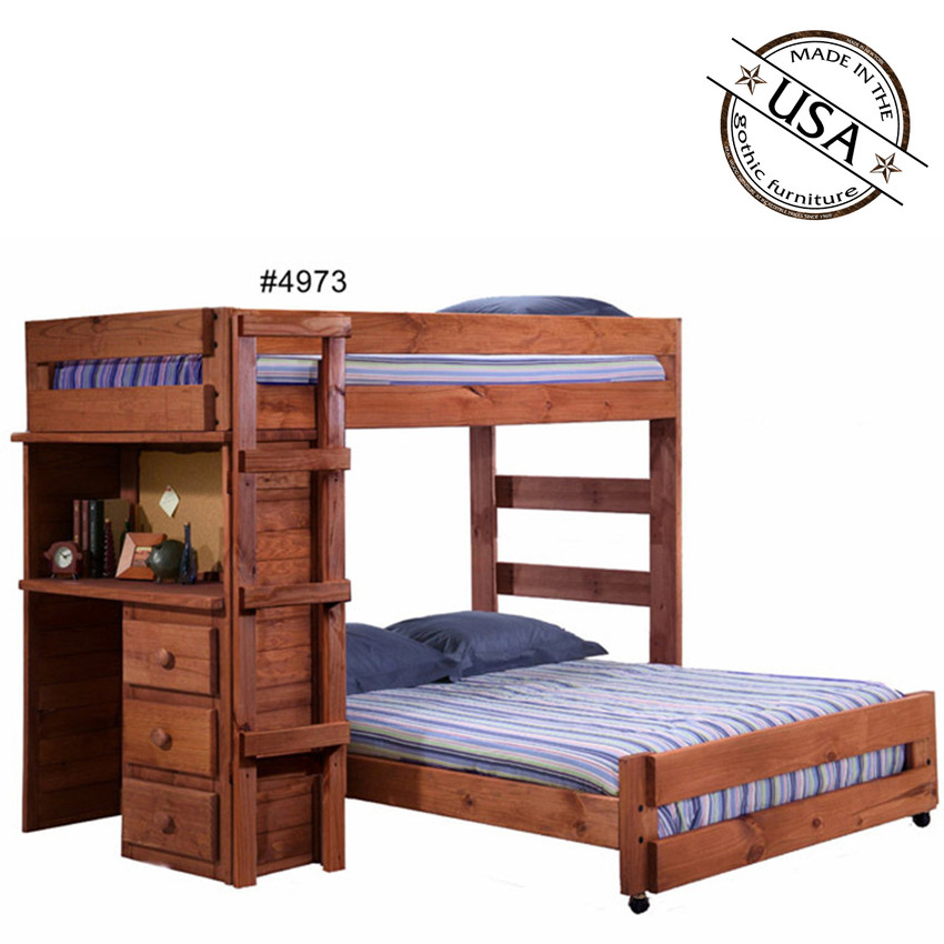 Twin full loft bed w desk solid pine for Unfinished loft bed