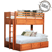 Twin Over Full Bunk Bed w/ 6 Drawers, Pine