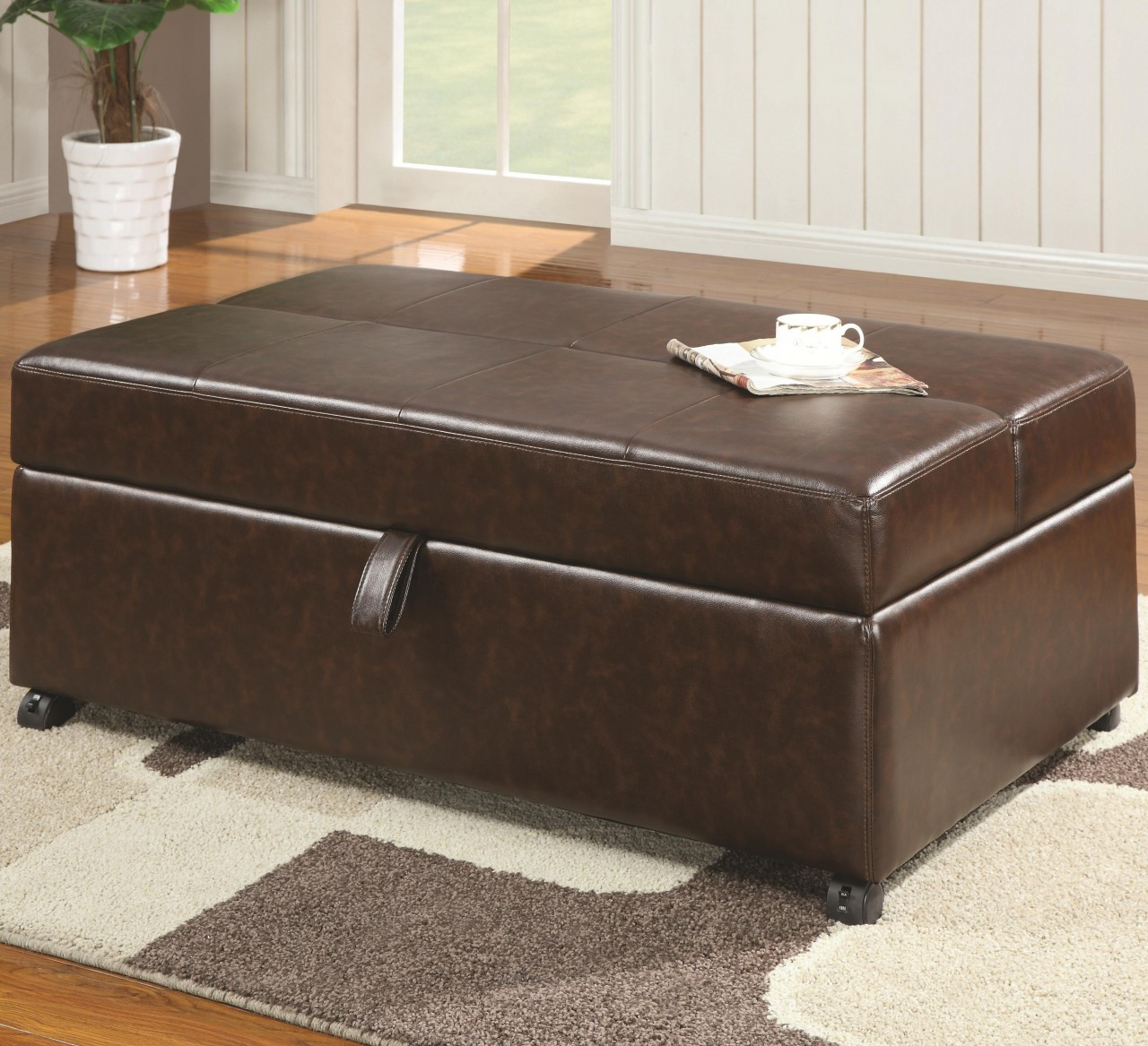 Pandora Ottoman Folding Bed In Brown Bonded Leather