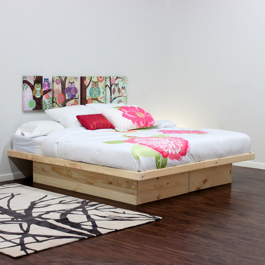 Platform Bed Without Drawers (Shown In Pine)