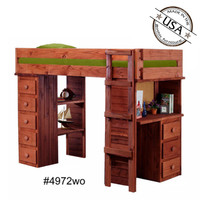 TWIN LOFT WITH DESK, CHEST & BOOKCASE
