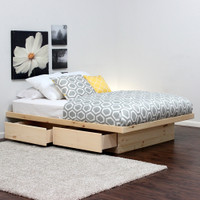 Platform Bed With 2 Drawers Without Tracks (Shown In Pine)