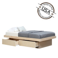 Twin Platform Bed 2 Drawers in Birch