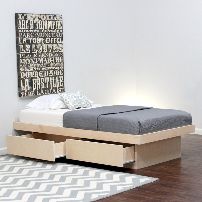 Twin platform bed with 2 drawers on tracks in birch for Twin bed base with drawers