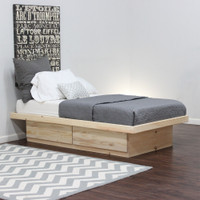 Twin Platform Bed With 2 Drawers (Shown in Pine)