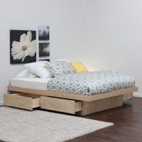 Platform Bed With 4 Drawers Without Tracks (Shown In Oak)
