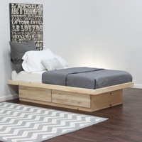 Full Platform Bed With 2 Drawers In Pine