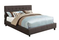Queen Bed With Bluetooth Speakers in Gray