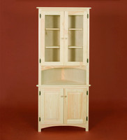 American Pride Corner Cabinet with Two Raised Panel Doors and Two Glass Hutch Doors