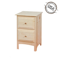 Nightstand With 2 Beveled Edge Drawers