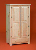 Wardrobe With 2 Raised Panel Doors & Drawer