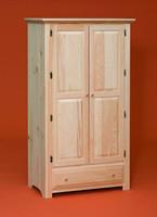 Wardrobe With 2 Raised Panel Doors & Drawer