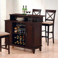 Contemporary Bar with Wine and Stemware Storage