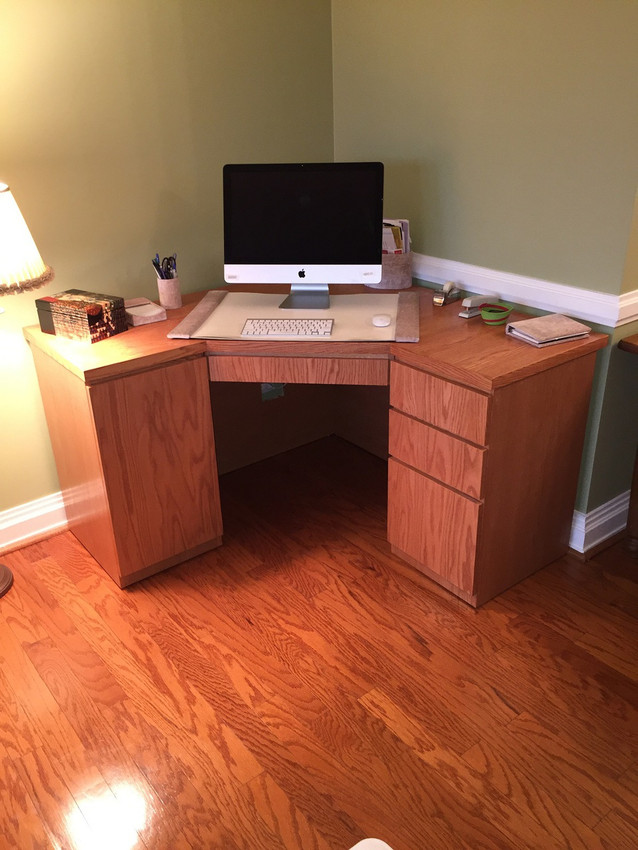 custom made corner office desk in oak