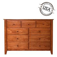 Shaker Nine Drawer Dresser in Pine