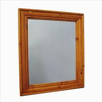"CLEARANCE - Pine, Birch or Oak Wood Crown Molding Mirror 24"" x 28"""