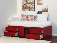 Twin Storage Bed with 4 Drawers & 2 Doors
