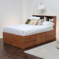 Shown in Natural Teak over Birch w/ optional Bookcase Headboard.
