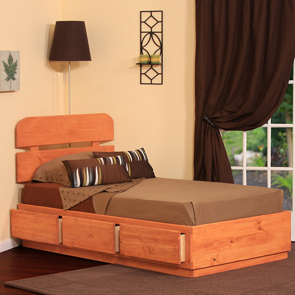 Extra long twin captains bed with 3 drawers in pine for Gothic cabinet craft platform bed