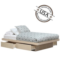 Queen Platform Bed 4 Drawers on Metal Tracks in Birch