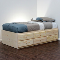 Extra Long Twin Storage Bed with 6 Drawers on Pine