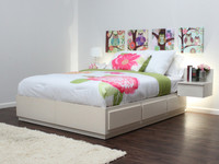 Queen Captains Bed with 6 Drawers On Metal Tracks In Birch