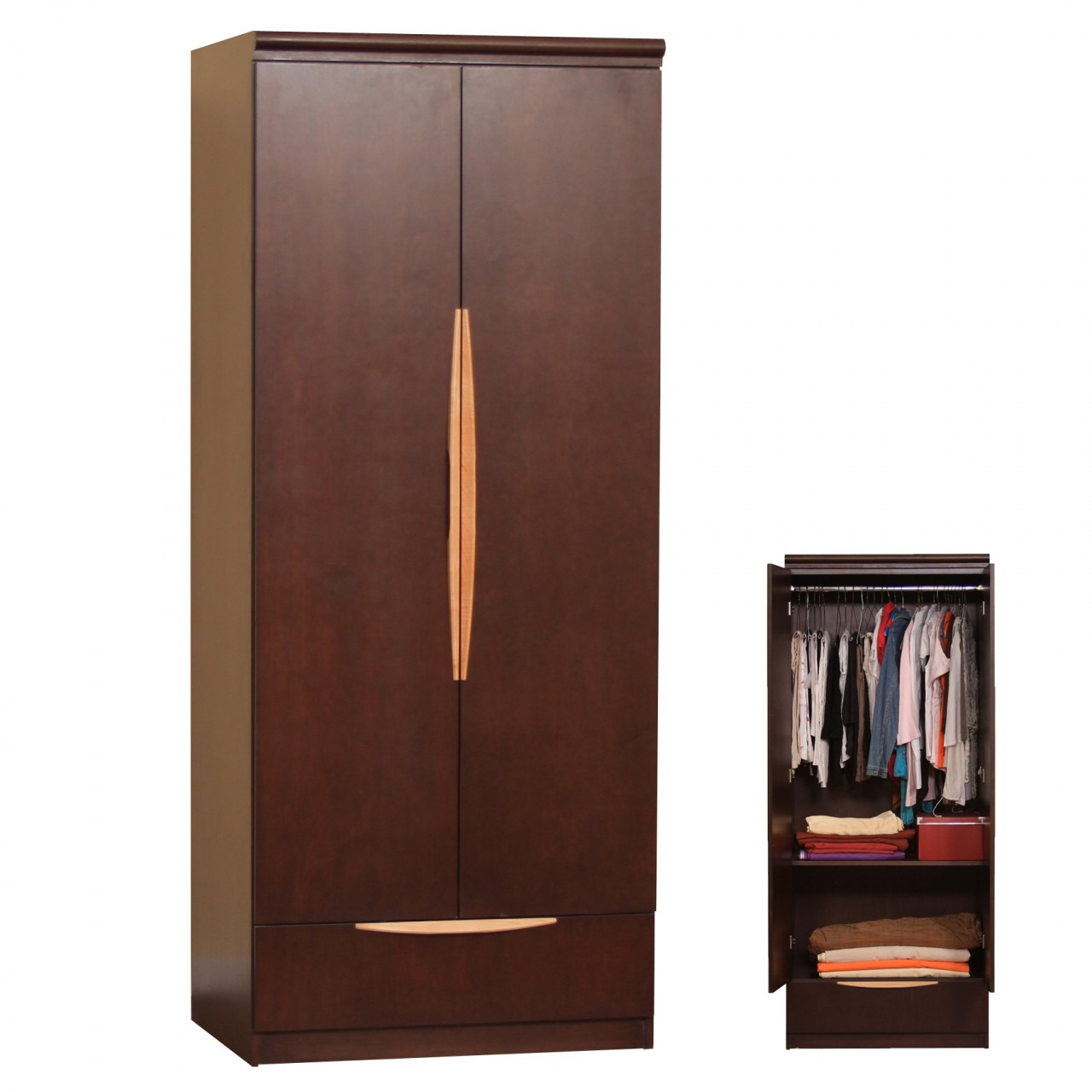 with x shelf rod hanging closet