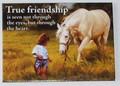 Leanin Tree Magnet - True Friendship - Girl w/ Horse in Field