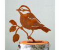 Elegant Garden Black Capped Chickadee Bird Silhouette Rusty Metal
