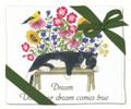 Alice's Cottage Set of 2 Cotton Flour Sack Towels CAT ON BENCH, FLOWERS