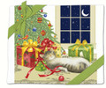 Alice's Cottage Set of 2 Cotton Flour Sack Towels HOLIDAY CHRISTMAS CAT