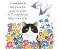 Alice's Cottage Set of 2 Cotton Flour Sack Towels CAT, BIRD SWALLOW. FLOWERS