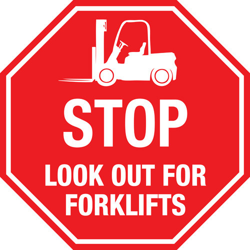 STOP Look Out For Forklifts Floor Sign