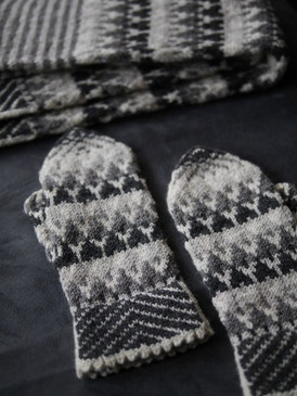 Snowy Evening Woods Mittens by Mary O'Shea