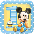 "Mickey 1st Birthday Party 9"" Square Dinner Plates"
