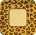 "Leopard Animal Print Party 9"" Square Dinner Plates"