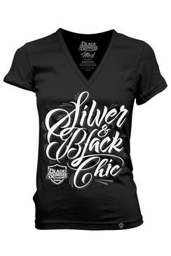 Silver Script Womens Deep V-Neck Tee