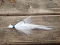 Teardrop or Coffin head Holy Joe Hair Jig in White / Blue.