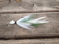 White / Green Grizzly Holy Joe Hair jig. Limited Edition!