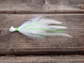 Teardrop or Coffin head Holy Joe jig. White with Lime/Chartreuse green flash.