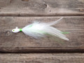 Guppy Head Holy Joe hair jig. White with Lime / Chartreuse green flash