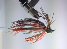 Olive/Orange Crawdad - Brown and Orange silicone skirt with Red glitter. Watermelon Red Flake head.