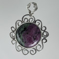 Ruby in Zoisite Sterling Silver Scroll Pendant