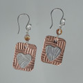 Silver Heart on Copper Earrings