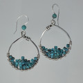Stacked Turquoise Heishi Gemstone Silver Earrings