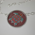 Enameled Cloisonne Sea Turtle Sterling Silver Necklace