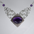 Amethyst & Filagree Sterling Silver Necklace